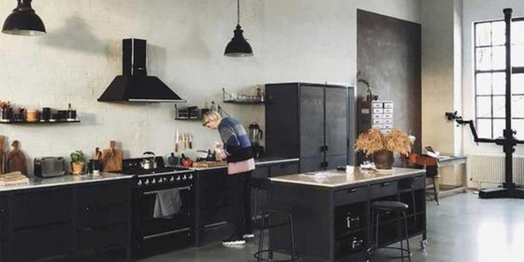 cocina diseño industrial color negro
