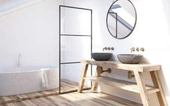baño madera destacada