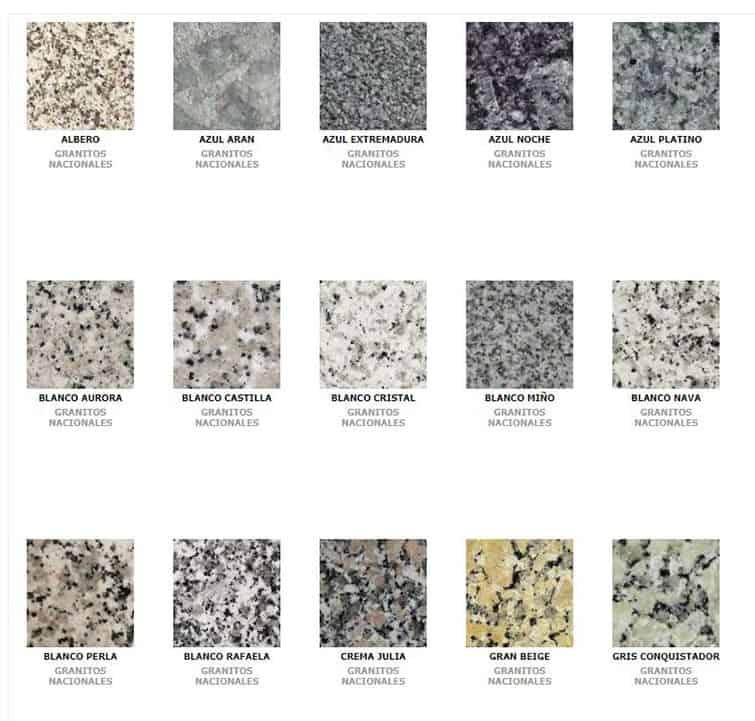 tipos de granito nacional