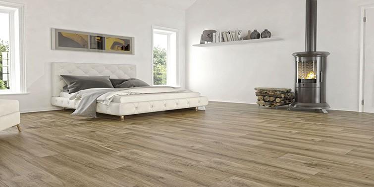 dormitorio con suelo porcelánico imitación madera