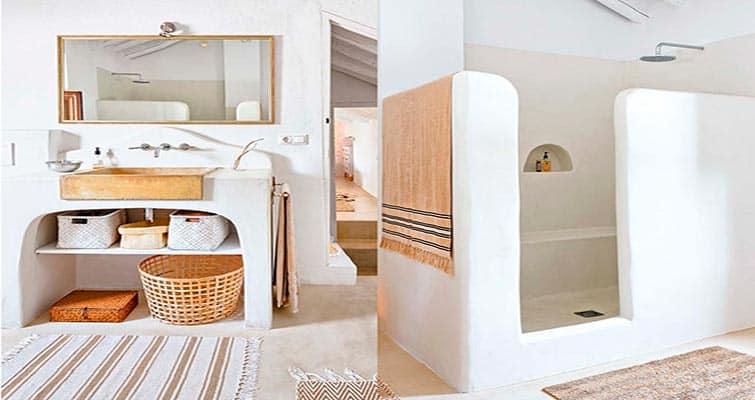 baños rústicos de obra y de piedra